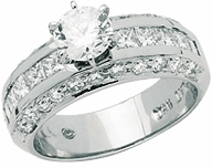 Evora 1 Carat Round  Cubic Zirconia Princess Cut Channel Set Pave Engagement Ring