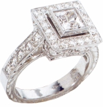 Exectuta 1 Carat Bezel Set Princess Cut Cubic Zirconia Halo Engraved Estate Style Ring