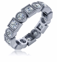 Exeter Alternating Square and Round Filigree Styled Cubic Zirconia Eternity Band