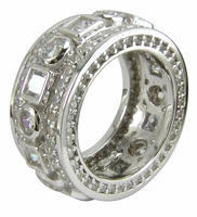 Fabianca Bezel Set Round And Princess Cut With Pave Set Round Cubic Zirconia Eternity Band