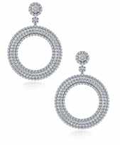 Farrah Pave Cubic Zirconia Halo Disc Hoop Drop Earrings