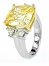 Felicity 7 Carat Cushion Cut Canary Cubic Zirconia Half Moon Solitaire Engagement Ring
