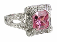 Felina 1.5 Carat Princess Cut Pink Cubic Zirconia Halo Antique Estate Style Ring
