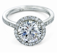 Fierra 2.5 Carat Cubic Zirconia Round Micro Pave Halo Engagement Ring