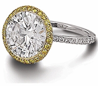 Fierra Halo 5.5 Carat Round Cubic Zirconia Micro Pave Solitaire Engagement Ring