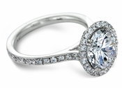 Fierra Platinum 2.5 Carat Round Halo Cubic Zirconia Micro Pave Solitaire Engagement Ring