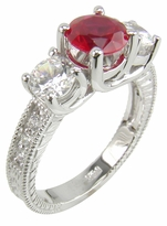 Finley Engraved 1 Carat Cubic Zirconia Round Lab Created Ruby Three Stone Trellis Ring