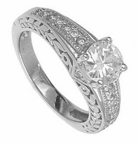 Fionna 1 Carat Round Cubic Zirconia Antique Estate Style Engraved Milgrain Solitaire
