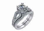 Fiorella 1.5 Carat Cubic Zirconia Round Double Prong Set Pave Split Shank Cathedral Pave Wedding Set