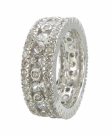 Fiorenza Round Bezel Cubic Zirconia Pave Three Row Eternity Band