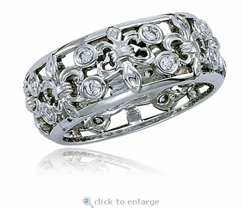 Fleur De Lis Bezel Set Cubic Zirconia Eternity Band