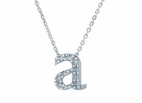 Floating Lowercase Letter Pave Cubic Zirconia Initial Necklace