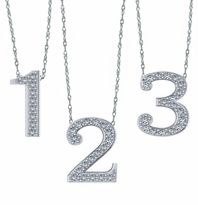 Floating Number Numerical Cubic Zirconia Pave Charm Necklace