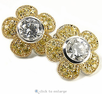 Floras 2.5 Carat Round Bezel Set Cubic Zirconia Pave Flower Earrings