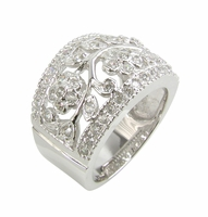 Florence Pave Set Round and Bezel Cubic Zirconia Floral Style Band