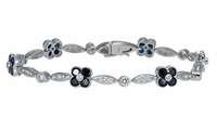 Florinada Flower Style Round Cubic Zirconia and Man Made Sapphire Gemstone Bracelet