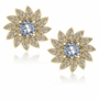 Flower .50 Carat Each Round Pave Halo Cubic Zirconia Earrings