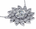 Flower .75 Carat Round Pave Halo Cubic Zirconia Necklace