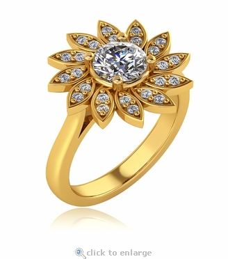 Flower Pave Halo Cubic Zirconia Ring