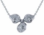 Flower Petal Pave Set Cubic Zirconia Pendant Necklace
