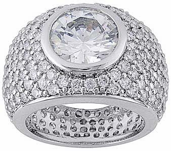 Formaggio Bezel Set 3 Carat Round Cubic Zirconia Pave Encrusted Ring