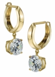 Fusion 2 Carat Each Cubic Zirconia Round Hinged Hoop Huggie Drop Earrings