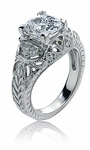 Galena 2.5 Carat Cubic Zirconia Cushion Cut Antique Estate Style Engraved Ring