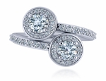 Gemini Double .50 Carat Each Round Cubic Zirconia Pave Halo Bypass Ring