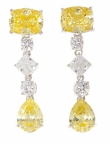 Gemma Cushion Cut Emerald Cubic Zirconia Canary Pear Drop Earrings
