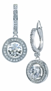 Geneva 1.25 Carat Round Cubic Zirconia Halo Drop Pave Earrings