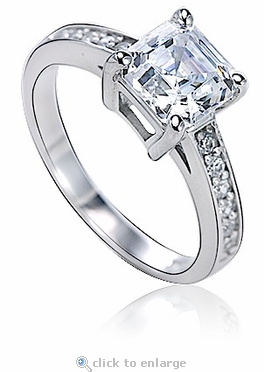 Genova 1.5 Carat Asscher Cubic Zirconia Pave Cathedral Solitaire