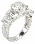 Geo Round Cubic Zirconia Emerald Cut Antique Engraved Estate Style Ring