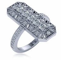 Geodeco Rectangular Five Stone Round Cubic Zirconia Pave Milgrain Antique Ring