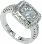 Gervase 2.5 Carat Elongated Cushion Cut Cubic Zirconia Halo Engagement Ring
