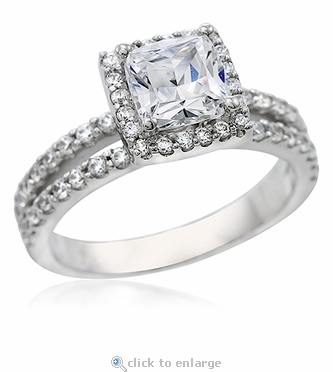 Gisella 1 Carat Cushion Cut Cubic Zirconia Halo Pave Split Shank Solitaire Engagement Ring