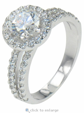Gisella 1 Carat Round Cubic Zirconia Halo Pave Split Shank Solitaire Engagement Ring