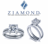 Giselle 4 Carat Cushion Cut Square Cubic Zirconia Micro Pave Wedding Set