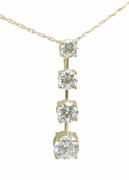 Graduated Round Basket Set Cubic Zirconia Journey Anniversary Drop Pendant
