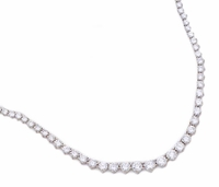 Graduated Round Four Prong Cubic Zirconia Tennis Necklace