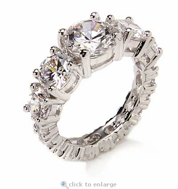 Graduated Round Prong Set Cubic Zirconia Solitaire Eternity Band