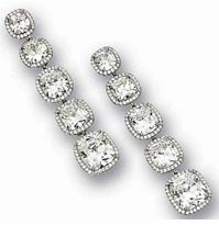 Graduosso Cushion Cut Graduated Cubic Zirconia Pave Halo Drop Earrings