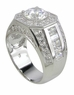 Grandeur Cubic Zirconia Round Pave Channel Set Emerald Cut Man's Ring
