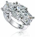 Grandiose 8.5 Carat Center Three Stone Asscher Cut Cubic Zirconia Ring