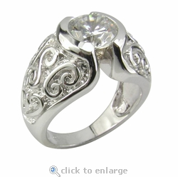 Greco 2 Carat Round Cubic Zirconia Semi Bezel Set Filigree Domed Solitaire Engagement Ring
