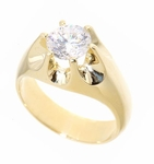 Gypsy Claw Round Prong Set Cubic Zirconia Men's Ring