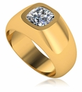 Gypsy Dome 1.5 Carat Cushion Cut Square Bezel Set Mens Ring