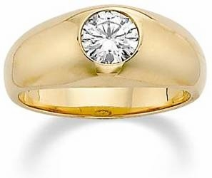 Gypsy Dome Bezel Set Round Cubic Zirconia Mens Rings