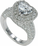 Halifax 2 Carat Heart Shape Cubic Zirconia Pave Encrusted Halo Engagement Ring