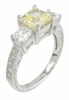 Halstead 1 Carat Princess Cut Center Cubic Zirconia Engraved Three Stone Ring