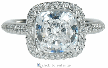 Hamilton 1 Carat Cushion Cut Square Cubic Zirconia Micro Pave Set Round Halo Eternity Engagement Ring